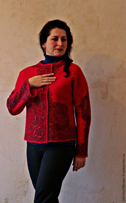 """Пиджаки, жакеты ручной работы. Ярмарка Мастеров - ручная работа. Купить Жакет """"Red Etro"""".. Handmade. Ярко-красный"""