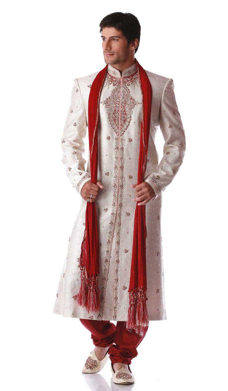 Off White Maroon Brocade Ethnic Sherwani For Men Jpg 963