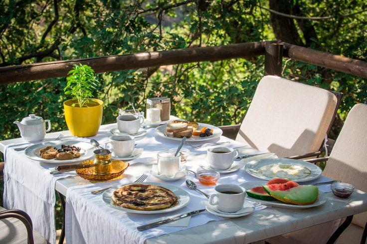 Breakfast at Enagron Ecotourism Village in Axos, Rethymno, Crete, Greece