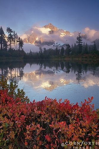 Liked on Pinterest: Picture Lake Fall Reflection Mt Baker-Snoqualmie National Forest Washington State