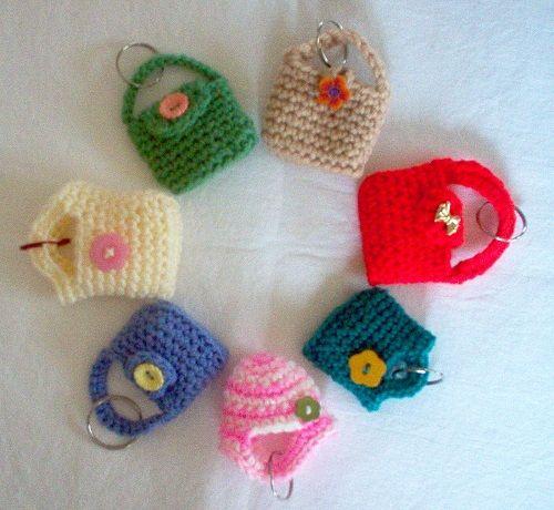 crochet mini handbags keychain  bag charms