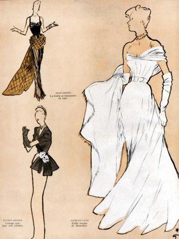 Jacques Fath 1947 Evening Gown, René Gruau