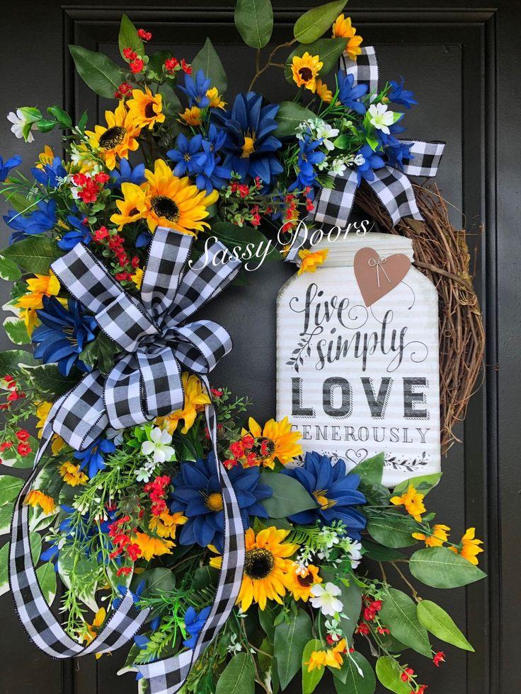Mason Jar Wreath, Summer Wreaths, Sunflower Wreath, Farmhouse Wreath, Wreath For…
