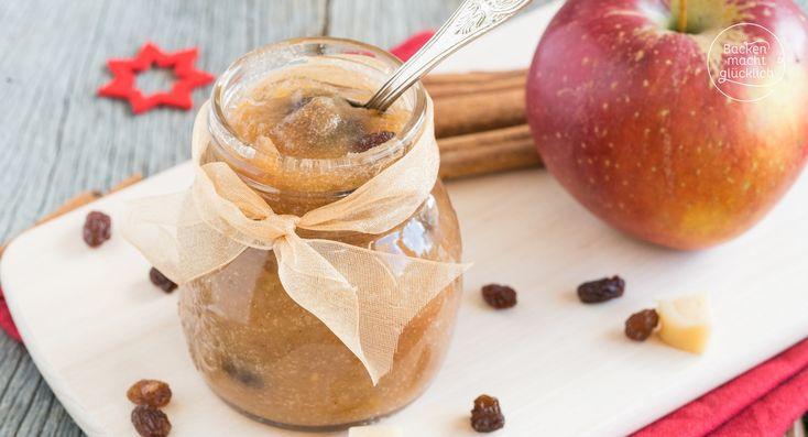 Weihnachtliche Apfel-Marmelade mit Zimt, Marzipan und Rosinen (Bratapfelmarmelade): toll als Geschenk aus der Küche & zum Selbergenießen!