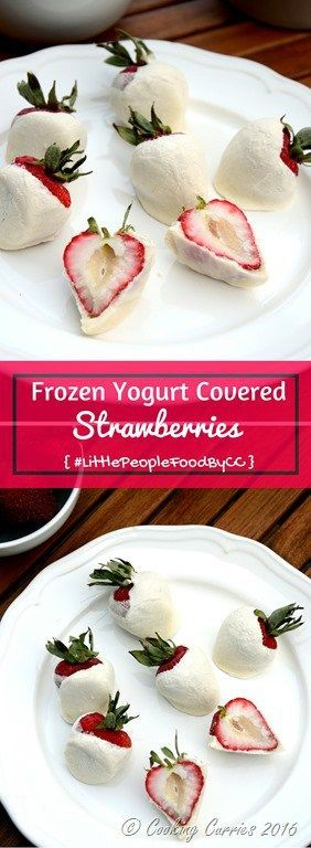 Delicious, juicy, organic strawberries coated with thick Greek yogurt and frozen to make these adorable summer frozen treats, frozen yogurt covered strawberries, that will be a favorite with kids and adults alike. Frozen Yogurt Covered Strawberries -  Little People Food - Toddler Food Recipes - http://www.cookingcurries.com