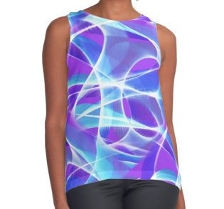 Waves Pattern on Pink Contrast Tank by TC-TWS at Redbubble