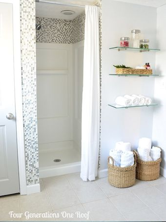 Turn a boring plastic shower stall into something flashy with tile added to the top and sides!