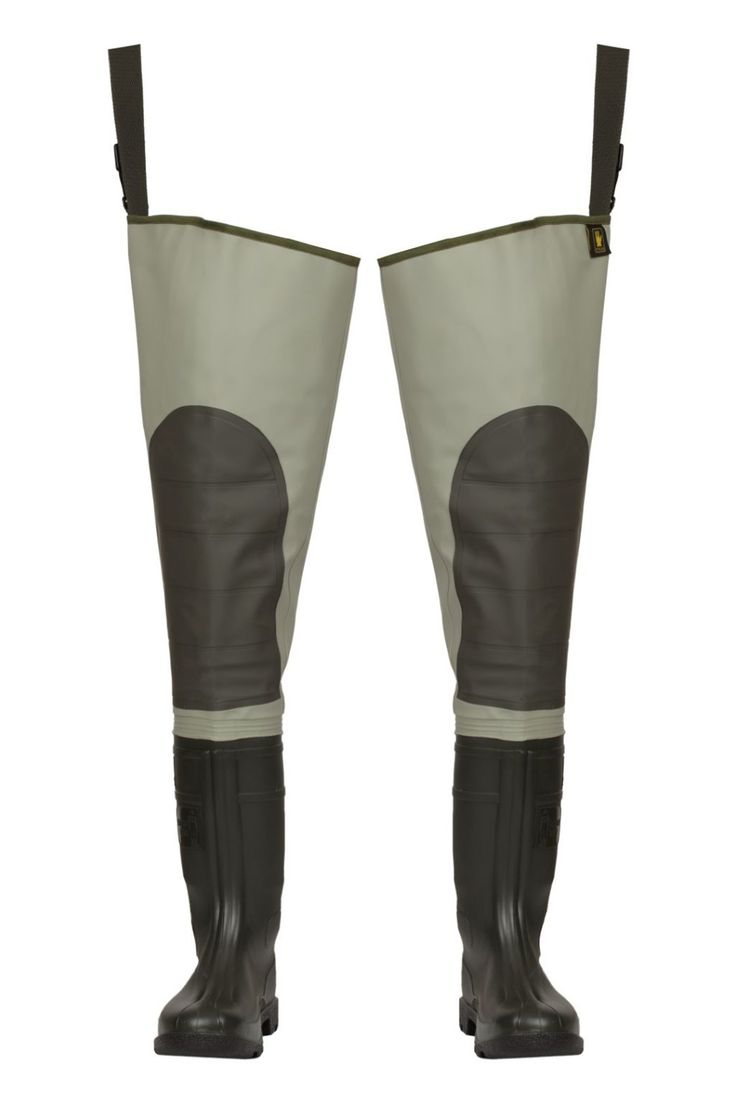 "WATERPROOF THIGH WADERS ""PREMIUM"" Model: WRP02 The thigh waders have been produced with high quality PVC boots welded in. The model has knee-protection. Thigh waders have been made on waterproof strong fabric Plavitex Heavy Duty. It's a good protection against water. High frequency welding makes seams stronger."