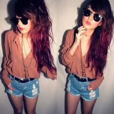Button up.Hipster Fashion, Blouses, Summer Outfit, Style, Red Lips, Hipster Outfit, Denim Shorts, Hair, High Waist Shorts