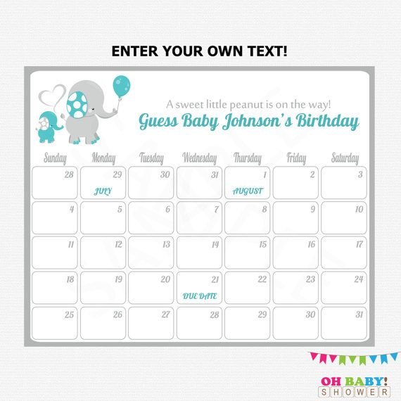 Editable Baby Due Date Calendar Teal and Gray by OhBabyShower