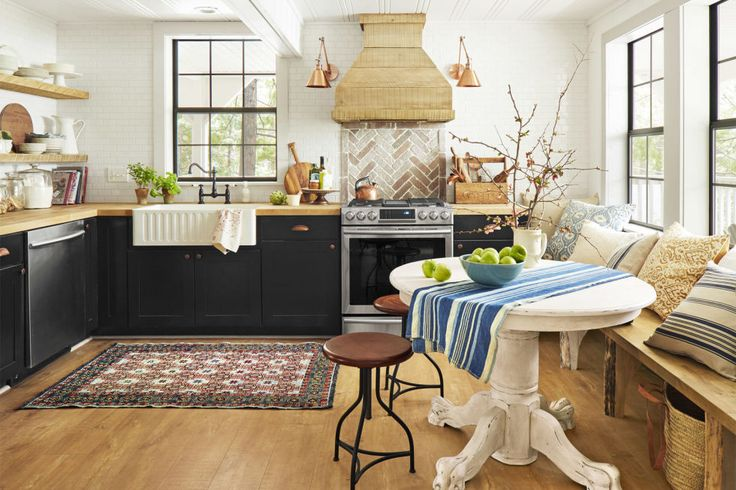 """Kitchen:  Subway tile is one of Jenna's renovation go-tos. """"It's affordable, and it works with any style of kitchen,"""" says the blogger, who used 12-inch sheets of 2-by-4-inch subway tile to make installation that much easier."""