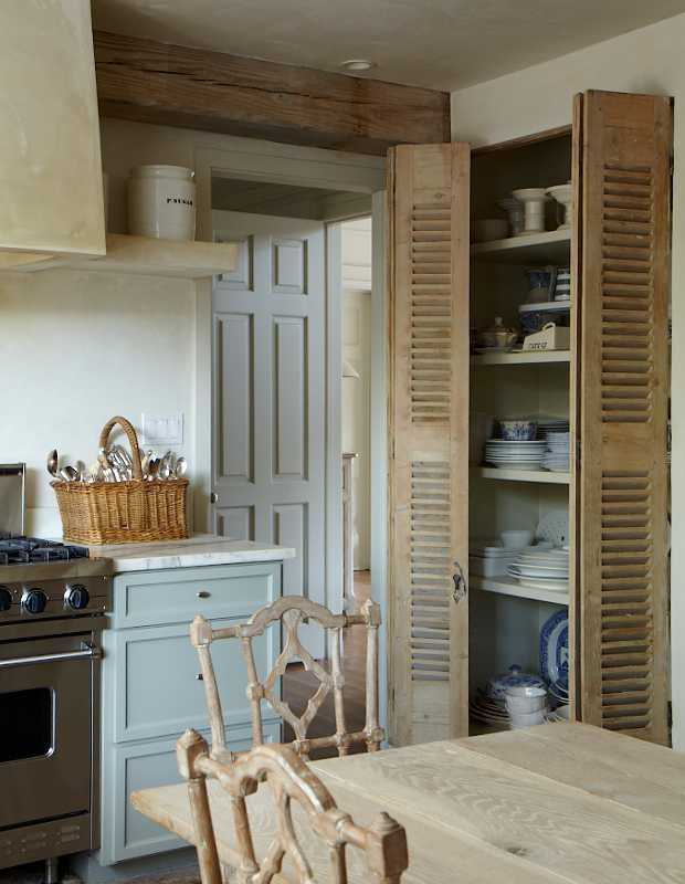 I love this, designer Katrin CargillCabinets, Shutters Doors, Ideas, Old Shutters, Kitchens Design, Rustic Kitchens, Interiors Design, English Home, Pantries Doors