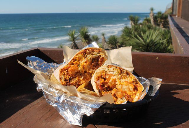 San Diego's Best Burritos and you can eat them with a view of the Pacific Ocean. Repeat offer me; I pledge allegiance to the Burrito of San Diego, California.