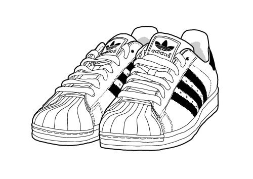 Line Art Shoes : Adidas superstar illustration by yula b girls and boys