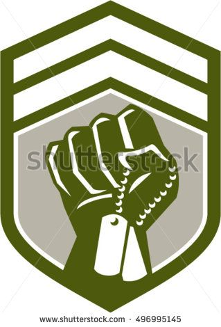 Illustration of a clenched fist clutching holding dogtag viewed from front set inside shield crest done in retro style.  #dogtag #retro #illustration