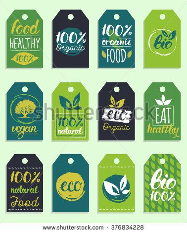 Vector eco,organic,bio logo cards templates.12 handwritten healthy eat retro logo card posters.Hand drawn Vegan,natural food logo cards.Farm market, store logo collection.Raw,healthy food badge,labels - stock vector