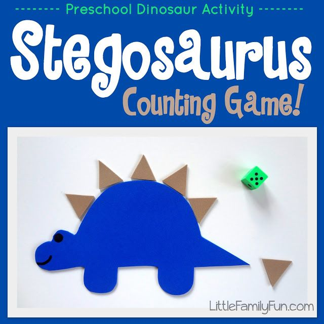 stegosaurus counting game...make dinosaur and spikes with craft foam...roll die to see how many spikes go on his back