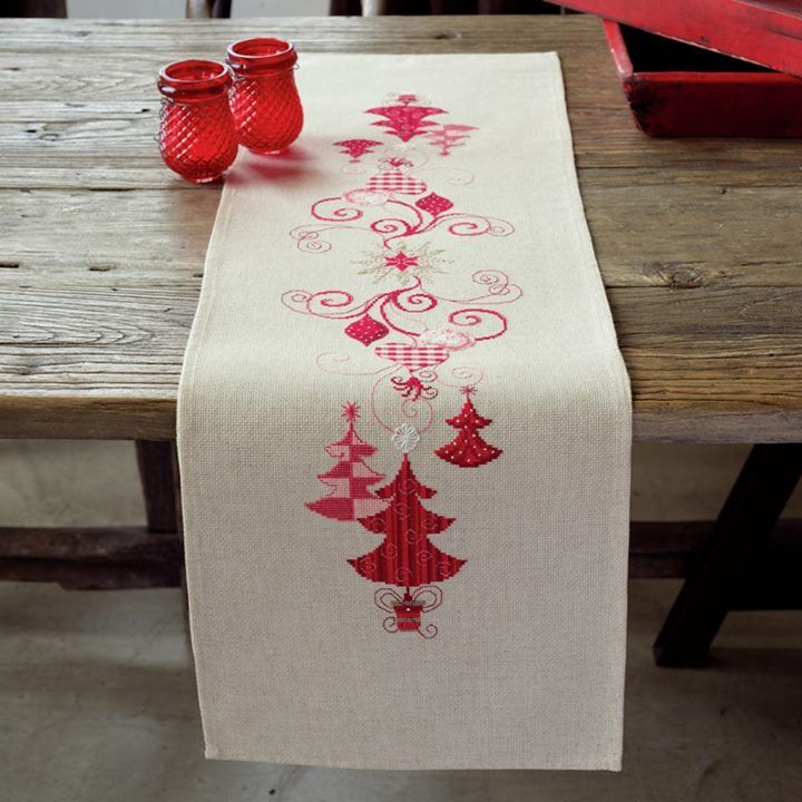 Stunning Christmas Runner - Christmas Decs Use discount code WELCOME for an extra 12% off  https://crossstitchuk.com/latest-products/embroidery-kit-runner-christmas-decs.html #DMC #Threads #crossStitch #etamin #embroidery #fabric #decorate #pattern #ornament
