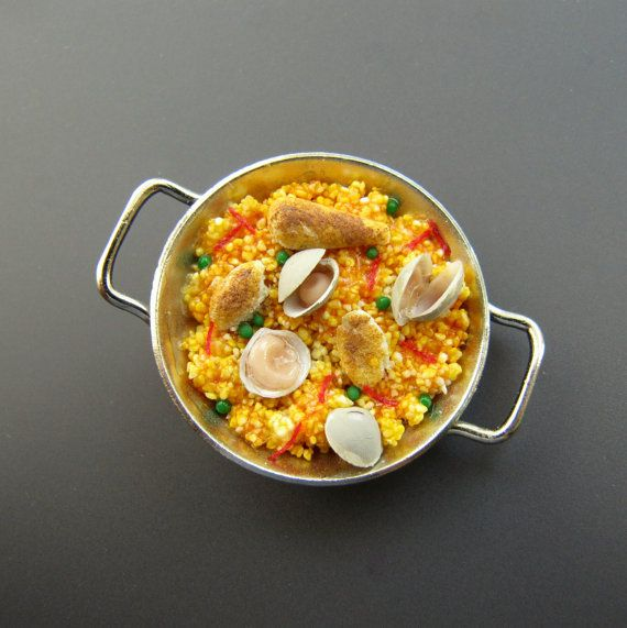 Dollhouse Miniature Food Paella Valenciana in Two Handled Cooking Pan on Etsy, $16.50