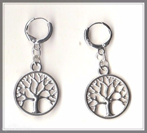 Tree of Life Charm on 925 Sterling Silver Plated Hinged Earrings  by MadAboutIncense - $10.50