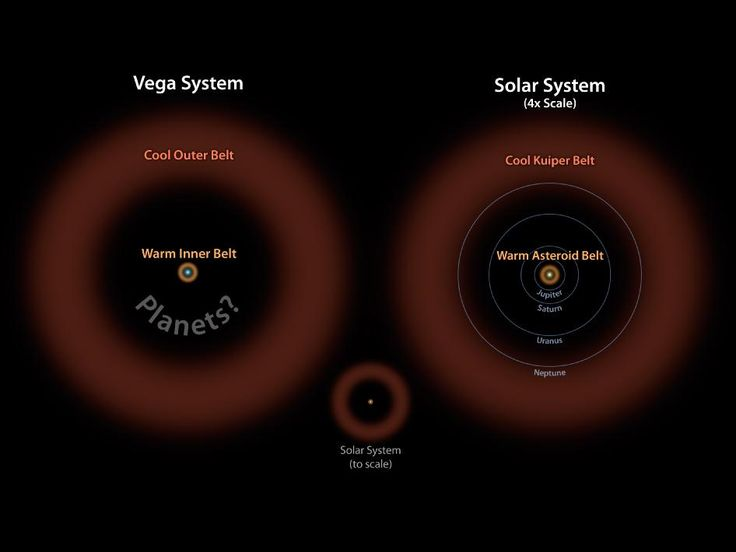 Evidence For Asteroid Belt Around Vega Found By NASA And ESA    In this diagram, the Vega system, which was already known to have a cooler outer belt of comets (orange), is compared to our solar system with its asteroid and Kuiper belts. The relative size of our solar system compared to Vega is illustrated by the small drawing in the middle. On the right, our solar system is scaled up four times.
