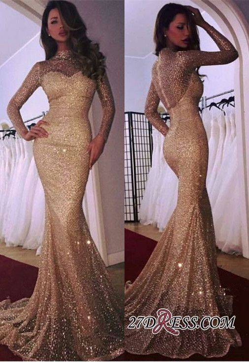 f1d0f4c505b Glamorous Long Sleeve Evening Dress 2019 Mermaid Prom Dress With Sequins  BA9936 Item Code  WA0699  Ad  Evening