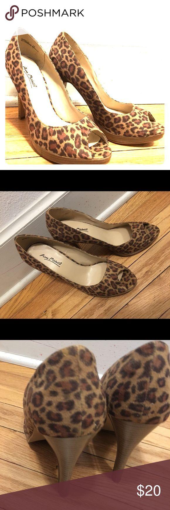 Leopard peeptoe hak schoen pinup faux suede NIEUW 7.5 Gloednieuwe Anne Michelle …