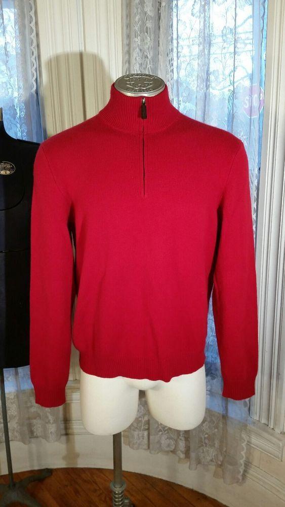 $350 Men's Polo Ralph Lauren 100% Cashmere Italian Yarn Red Zip Sweater SOFT XL #PoloRalphLauren #Polo