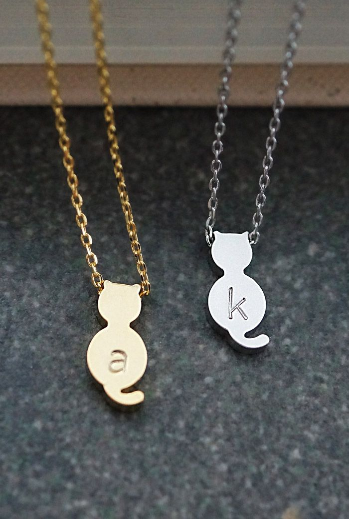 Cute Dainty Personalized kitty cat necklace from EarringsNation for cat lovers