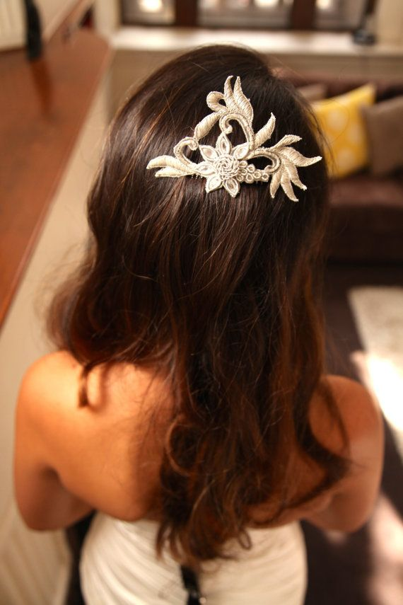 Art Deco Silver Bridal/Wedding Hair Piece by LacedUpWithString