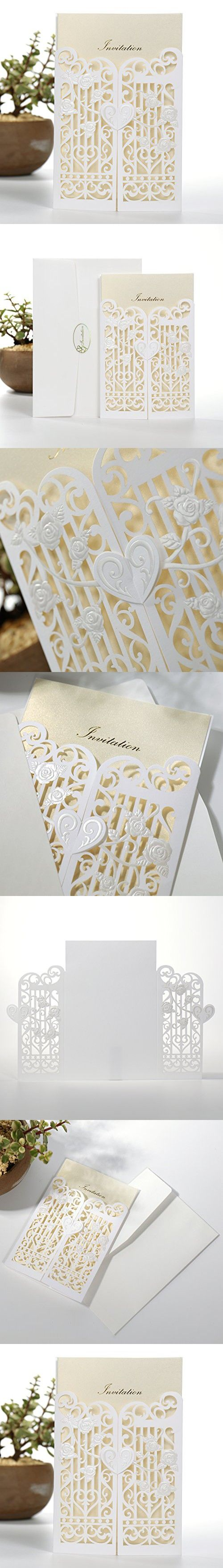 50PCS Pear Paper Laser Cut Bronzing Wedding Baby Shower Invitation Cards with Butterfly Hollow Favors Invitation Cardstock for Engagement Birthday Graduation (Convex White)