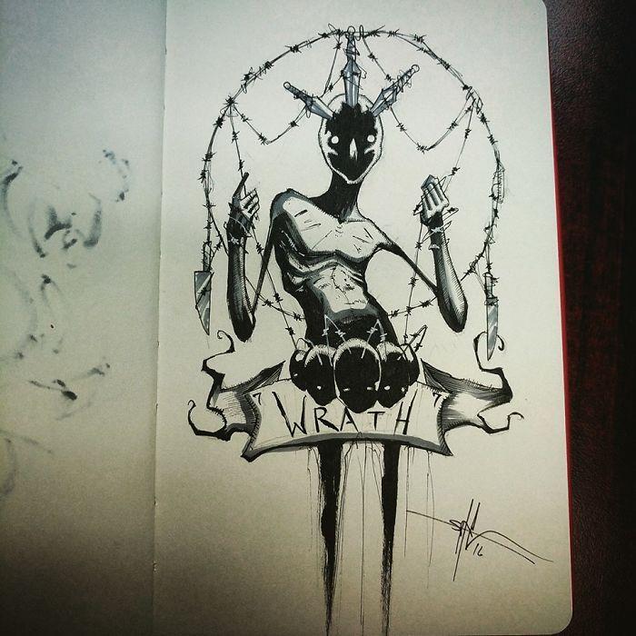 Os 7 pecados capitais em ilustrações sombrias - O ilustrador Shawn Coss representou os 7 pecados capitais com ilustrações carregadas de significado.
