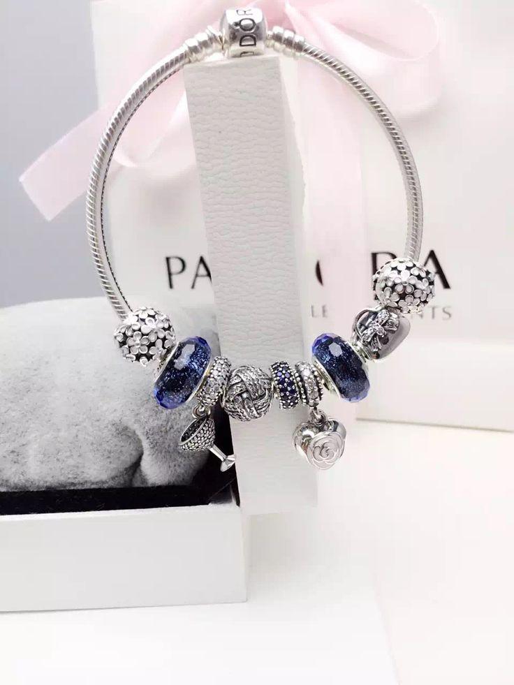 Delightful $239 Pandora Charm Bracelet Blue White. Hot Sale!