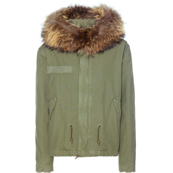Mr & Mrs Italy Fur-Trimmed Cotton Parka found on Polyvore featuring outerwear, coats, jackets, green, green parka coat, green coat, green parkas, cotton parka and fur trimmed parka