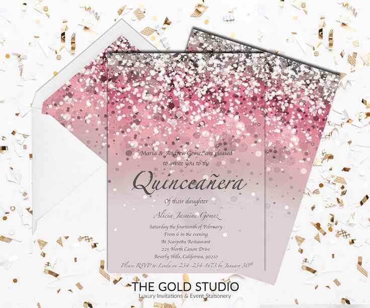 16 best quinceaera invitations images on pinterest quince ideas pink quinceaera invitation mis quince anos print at home glitter pink quince invite birthday mac or pc word or pages instant download stopboris Images