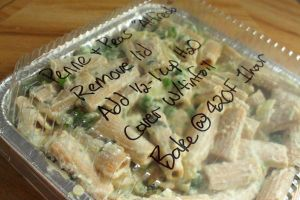 "5 Make Ahead Vegan Freezer Meals - Penne & Peas ""Alfredo"" Casserole: Remove lid, add 1/2-1 cup water, cover with tinfoil, bake at 420F for 1 hour."