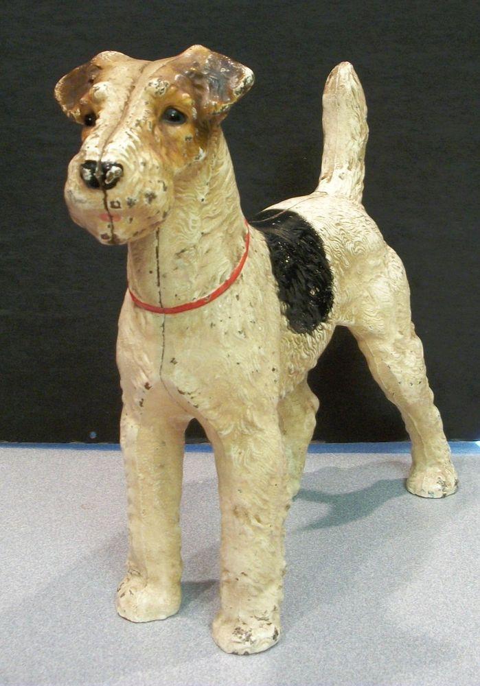 All Orignal Hubley Wire Fox Terrier Cast Iron Doorstop