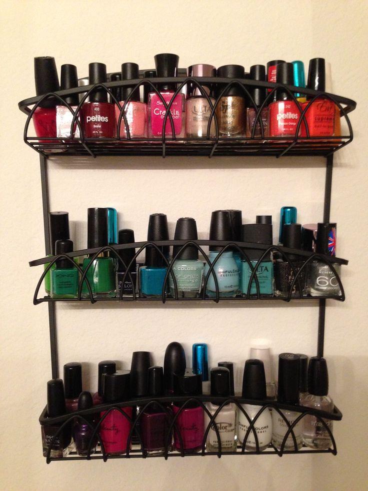 spice rack nail polish rack my pins pinterest. Black Bedroom Furniture Sets. Home Design Ideas