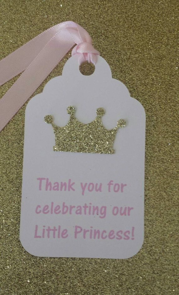 Pink and Gold Little Princess Favor Tags for 1st birthday party or baby shower pink and gold decor