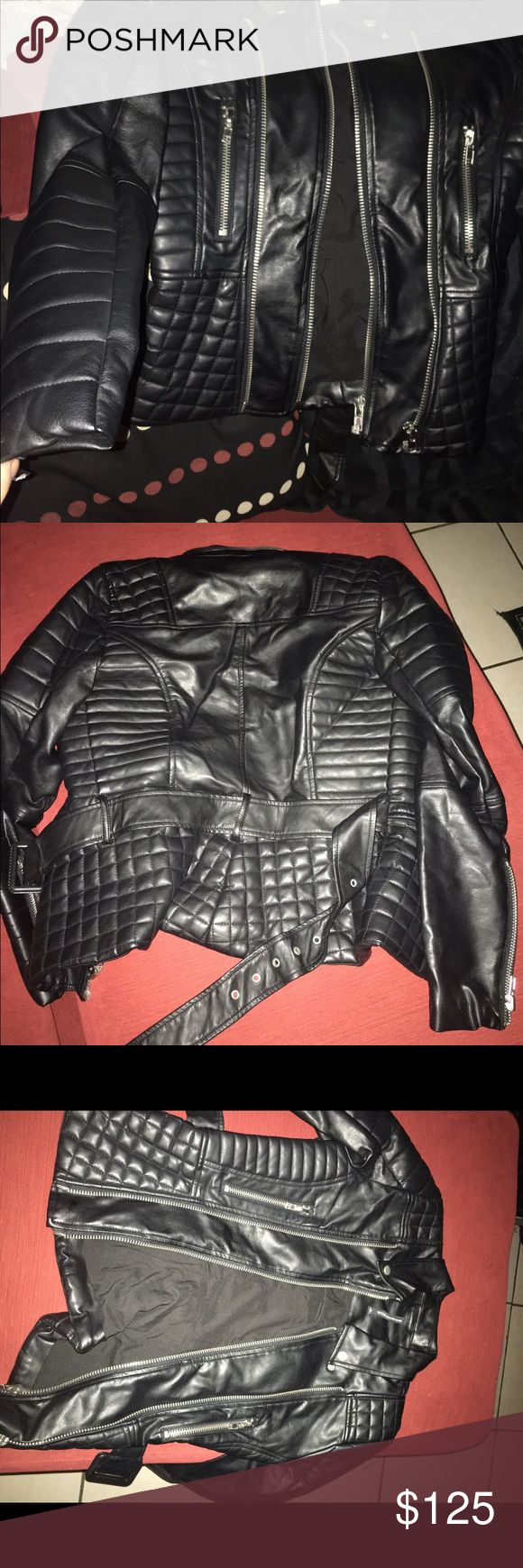 Walter baker quilter faux leather jacket w belt Never worn took tag off and wire for 5 mins... Very warm not bulky but cute fit W118 by Walter Baker Jackets & Coats Jean Jackets