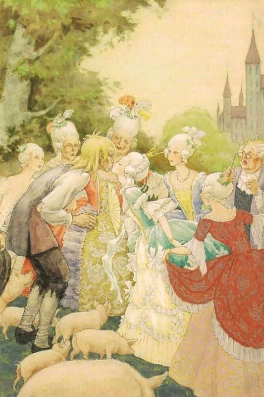 kidpix: Rudolf Koivu the Swineherd kisses the princess... Ach, du lieber Augustin, Alles ist hin!