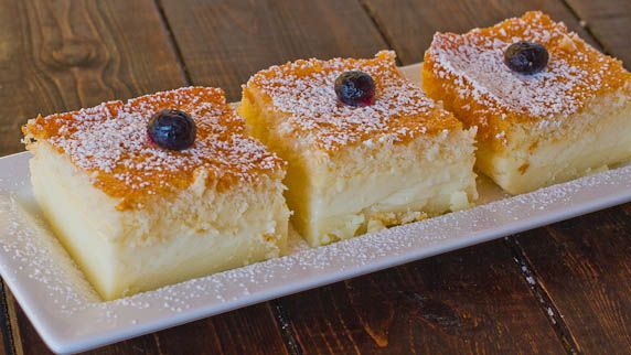 Magic Cake - one simple thin batter, bake it and voila! You end up with a 3 layer cake, magic cake. Wow, what will they think of next? Definitely going to try this.