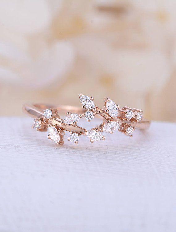 Rose Gold Verlobungsring Diamant Cluster Ring einzigartige Moissanite zarte Blatt Hochzeit Fr…