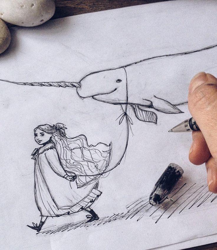Рог нарвала- это развитый левый верхний зуб и на рисунке конечно же не нарвал. Скорее этот зверь внебрачное дитя белухи и единорога. А девочка обычная, просто они друзья. Как-то так  #process #wip #inprogress #drawing #fairytale #art #myart #sketch #Instagraminrussia #instagramrussia #magic #инстаграмнедели #artwork #рисунок #набросок #ИнстаграмОднойРуки