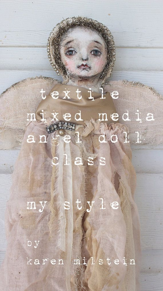 textile mixed media angel doll.... my new online by fadedwest, $55.00