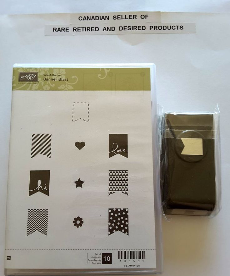 BANNER BLAST and PUNCH Stampin Up 10 Mounted Rubber Stamps Retired. NEW