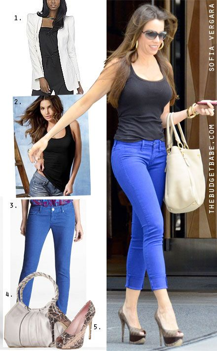 Dress by Number: Sofia Vergara's Cobalt Jeans and Python Platforms - The Budget Babe
