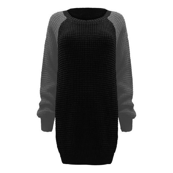 Womens Ladies Contrast Long Sleeve Chunky Knitted Oversized Baggy... ($13) ❤ liked on Polyvore featuring tops, sweaters, plus size long sleeve tops, chunky oversized sweater, oversized jumper, oversized sweaters and plus size jumpers