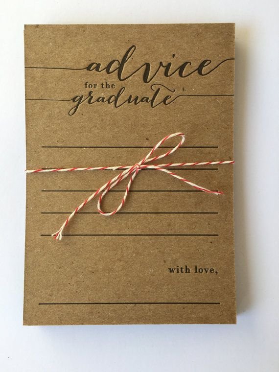 advice for the graduate - letterpress - pack of 10 - graduation party - rustic - country - keepsake - graduate advice card - high school
