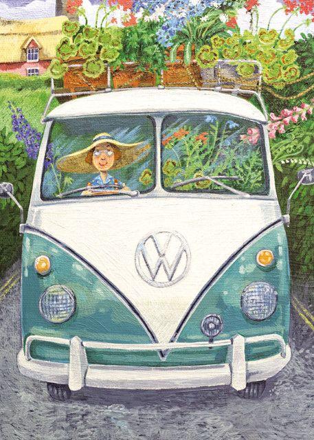 'Back From Chelsea' By Artist Stephanie Lambourne. Blank Art Cards By Green Pebble. www.greenpebble.co.uk